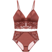 4dd8e39b79 CINOON 2018 NEW Sexy Wire Free Satin Bra Set thin Triangle cups Solid Color  Bra and Panty Set Lingerie Underwear Women Brassiere