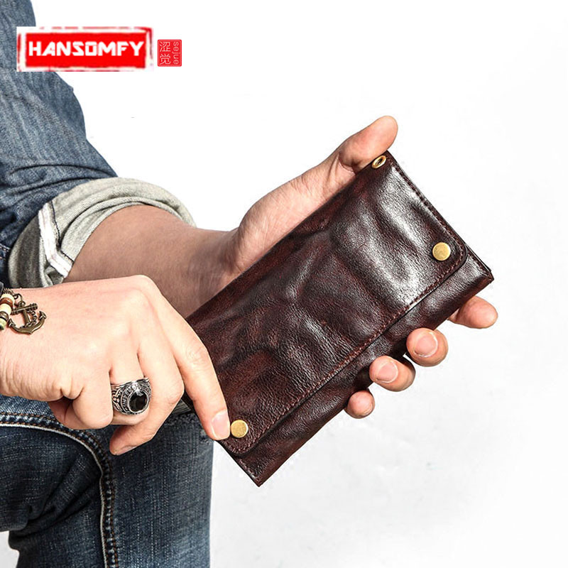 Retro men long section Wallet young tide ultra-thin soft Doka bit Genuine leather Purse Japan and South Korea personality wallet 0 free shipping creative personality skull graffiti tide male leather wallet long section of korean women wallet wallet youth