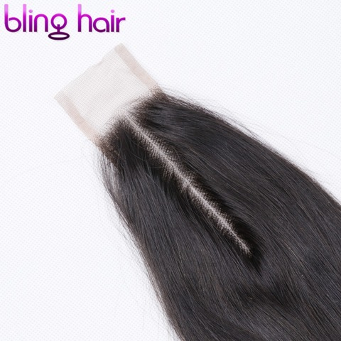 """Bling Hair 2*6 Brazilian Straight Hair Closure with Baby Hair Middle Part Remy Human Hair Closure Swiss Lace Natural Color 8-22"""" Multan"""