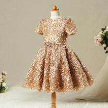 596446cd647b Baby Children Gold Vintage Flower Girls Dresses Weddings Birthday Party  Ball Gown Princess Dress Kids Evening Party Dress Y419