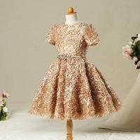 Baby Girl Gold Dress Cocuk Abiye Vintage Baby Kids Wedding Party Ball Gown Princess Dress vestido dourado de festa de beb Y419