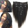 Grampo em extensões do cabelo brasileiro virgem Afro Kinky hetero grosso Yaki italiano grampo no cabelo humano Extensions clipe Ins tece