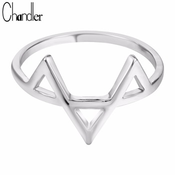 10pcs Wholesale Silver Gold Plated Geometric Three Triangle Ring Low Price Casual Simple Jewelry Homme Femme Bijoux Xmas Gifts