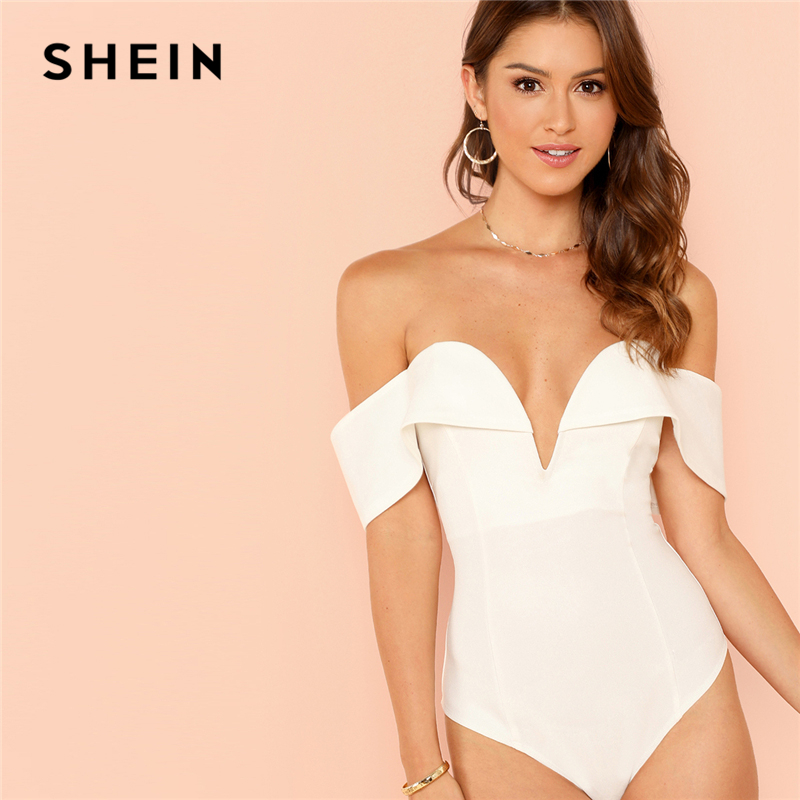 f2e29d8c7b SHEIN White Deep V Neck Front Bardot Bodysuit Sexy Party Off Shoulder Skinny  Bodysuits Women Plain Mid Waist Summer Bodysuit