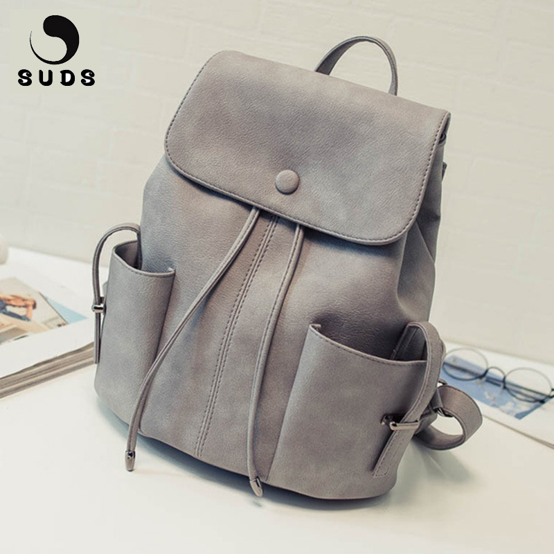 SUDS Brand Vintage PU Leather Backpack Women High Quality Casual Traveling Backpacks School Bags For Teenagers Mochilas Mujer dcimor high quality women backpack large capacity backpacks for teenagers women s travel bags mochilas school bags book bags