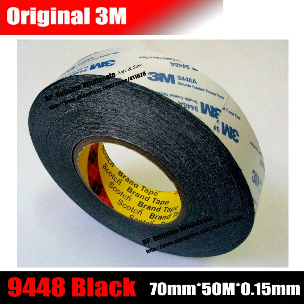 70mm 50M 0 15mm 3M Double Sided Adhesive Tape 9448 Black For Electrical Control Panel Nameplate
