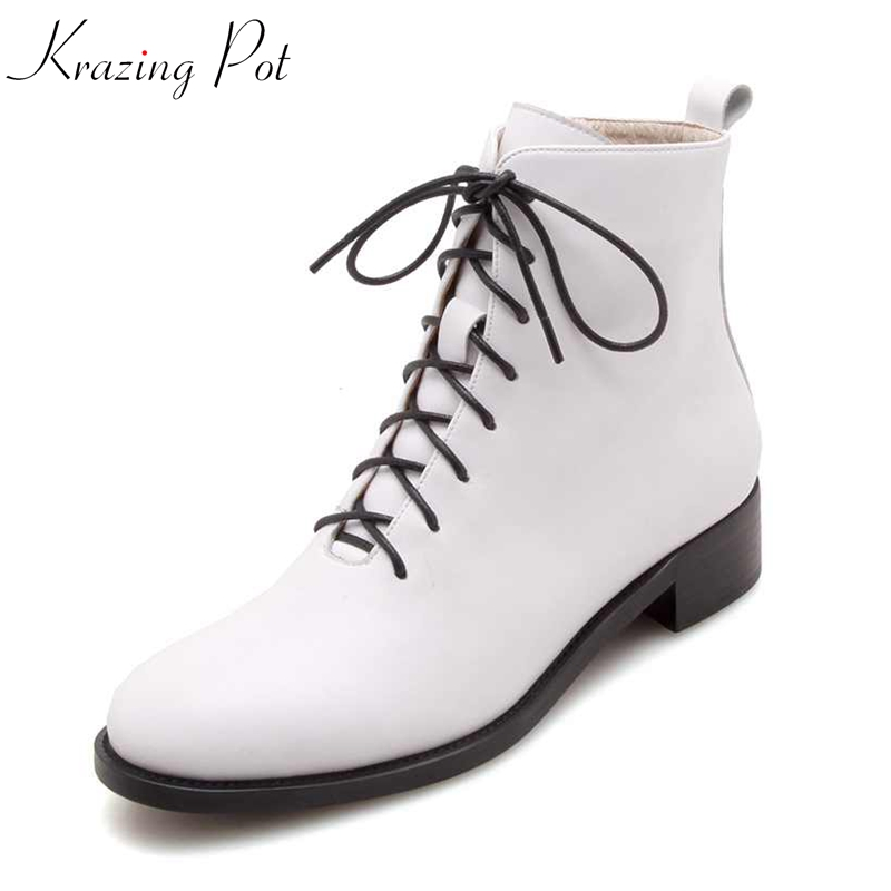 Krazing Pot genuine leather streetwear round toe white black color ankle boots square heels big size luxury Chelsea boots L65 krazing pot cow suede fashion winter big size round toe art square high heels embroidery women flowers ankle chelsea boots l15