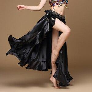 Image 4 - Женская Длинная атласная юбка для танца живота, профессиональная сексуальная юбка для восточных танцев, 2020