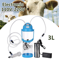 3L Single Head Electric Milking Machine Portable 0.8 Gal Farm Milk Bottle Vacuum Pump Milker Barrel AC 110V 220V Sheep Goat Cow