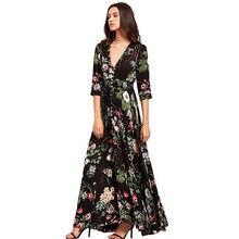 ebd4742ad Marca vestido Maxi estampado Sexy Plus tamaño de ropa de playa de verano  las mujeres Vestidos hacer elegante traje Boho Fiesta C..