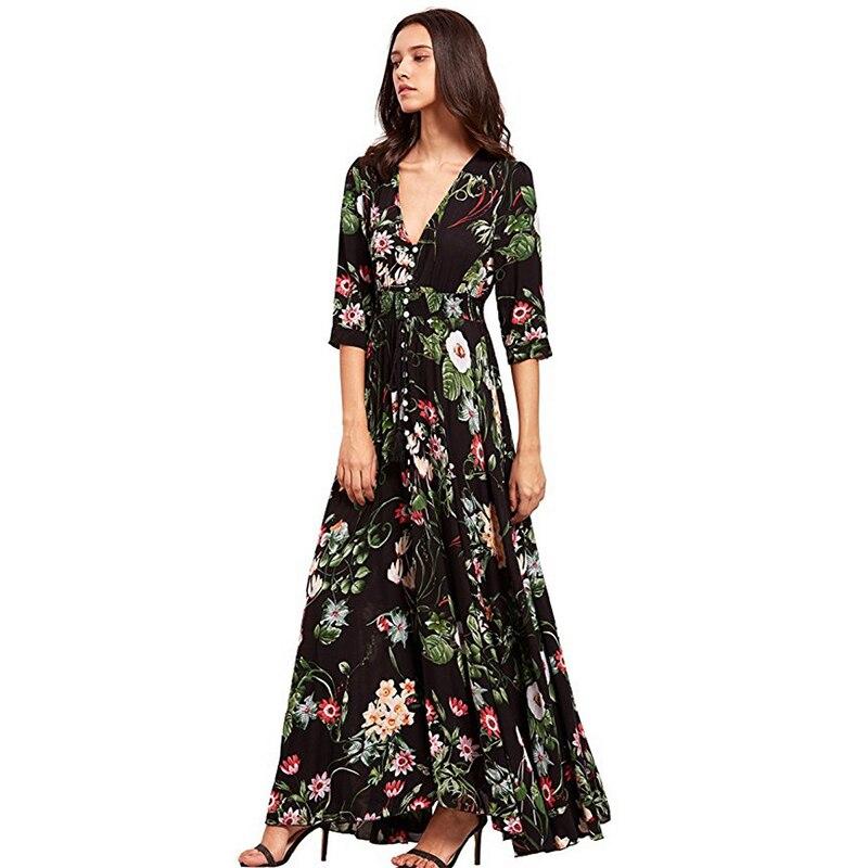 Marca vestido Maxi estampado Sexy Plus tamaño de ropa de playa de verano  las mujeres Vestidos hacer elegante traje Boho Fiesta Club vestido -  a.wangmu.me 3ba9710bd47