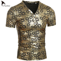 TASTIEN New Arrival Fashion Summer Tees For Men Cotton Tshirts V Neck Floral Pattern Print High Quality Sexy Crazy Men's Tops