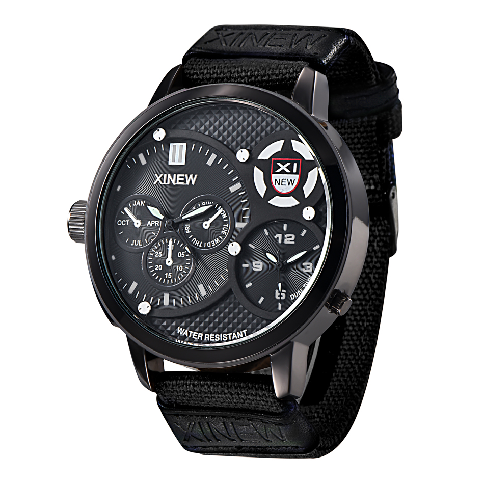 100% Authentic Hot Brand XINEW Watches Oversized Dial Mens Clock Male Military Army Hours Man Imported Watch Reloj Hombre Black