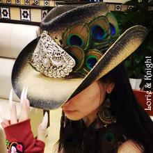 Ręcznie robione pawie pióro i chiński etniczny mniejszości MIAO srebrny kowbojski kapelusz słomkowy żeński kapelusz wakacje tanie tanio Kowbojskie kapelusze Dla dorosłych Cowboy Hat Unisex lorie knight Futro Floral Na co dzień
