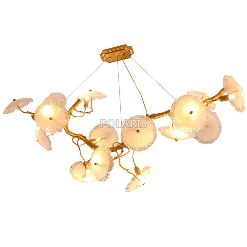 Медь люстры светодиодный Латунь Люстры Стекло люстра лампа Медь кулон висит света для гостиной Обеденная