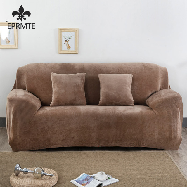 Elastic Slipcover Solid Color Plush Stretch Sectional Sofa Covers for 1/2/3/4-seater Corner Sofa Covers Couch Cover EPRMTE