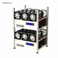 Kebidumei 1pc With interface 6 GPU Open Air Mining Case Computer ETH Miner Frame Rig 6x Fan & Temp Monitor