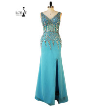 Frau abendkleid Lange Elegante vestido longo festa vermelho V-ausschnitt Perlen mit Kristallen Chiffon Blau Abendkleid Echt Bild