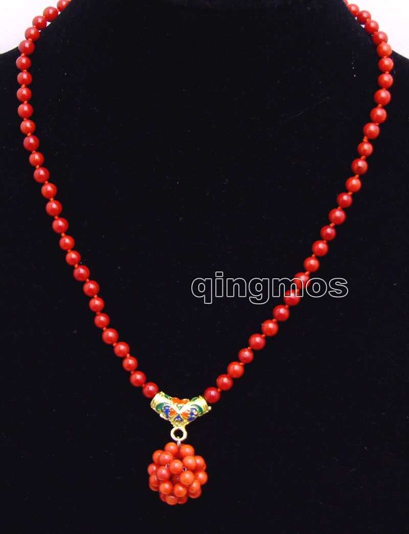 5-6mm Red Round Natural Coral & handwork Weaving 18-19mm Round Ball Pendant 17'' Necklace-nec6212 Wholesale/retail free