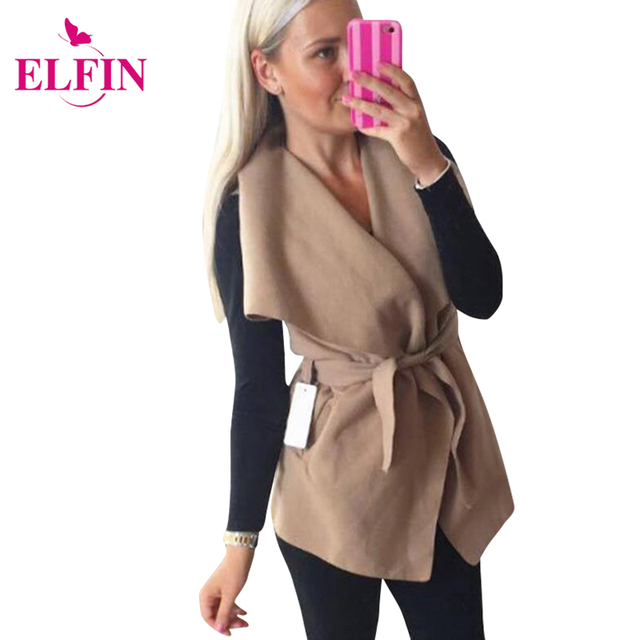 Mulheres da moda Casaco de Lapela Casaco Jaqueta Outono Inverno Irregular Hem Wasit Ataduras Tiras Casaco Com Cinto de Mulheres Roupas LJ5593R