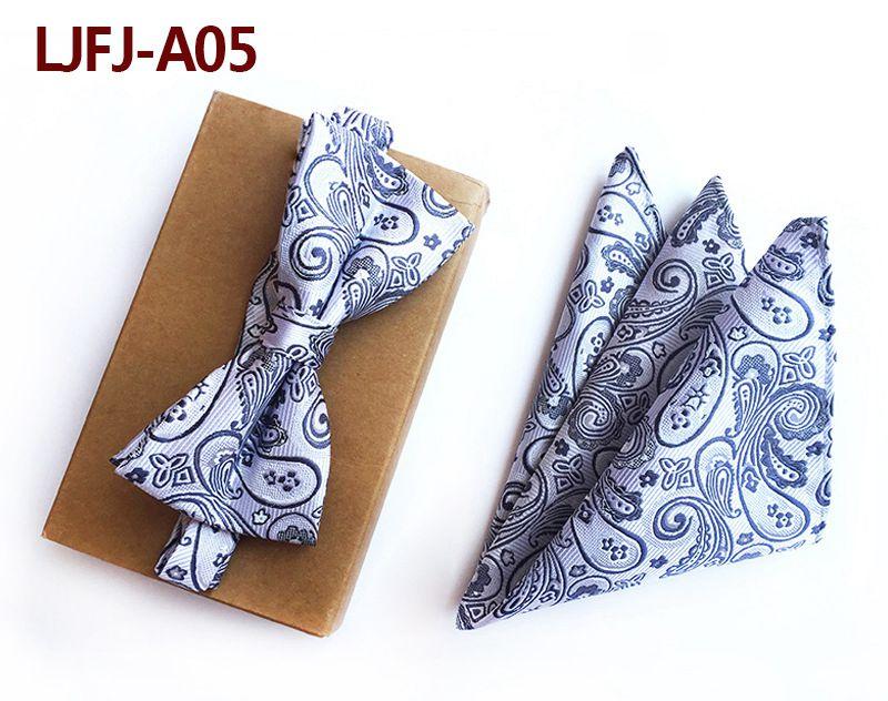 Мужской модный галстук набор полиэфирных шелковых галстуков наборы из двух частей жаккардовые галстуки для мужчин галстук носовой платок галстук-бабочка - Цвет: LJFJ-A05