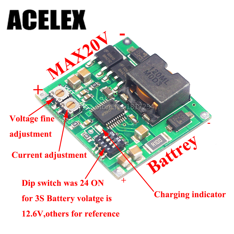 Free shipping MAX745 4.2 4.35V 1-4 Packs Lithium Battery Charging Board Voltage Current adjust