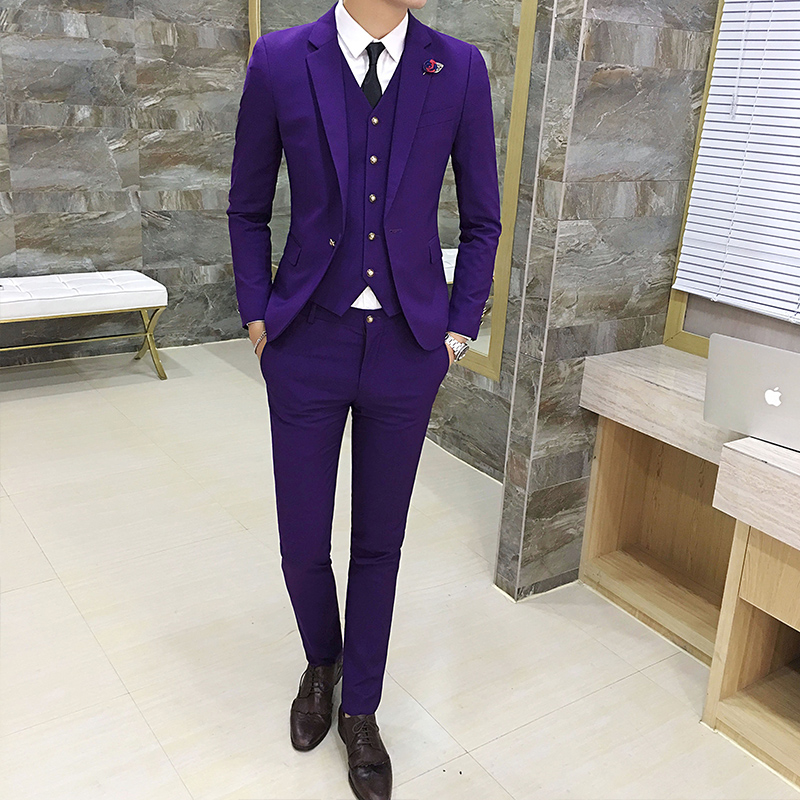 Mens Suits 3 Pieces Set, Business Groom Wedding Dresses Male Blazer Jackets + Vests + Pants, 7 Color Options Men Sets, S 3XL