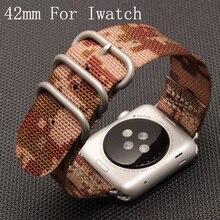 Apple watch correa de deporte de la lona, nylon 42mm de apple reloj de correa de reloj, para iwatch apple watch con adaptador
