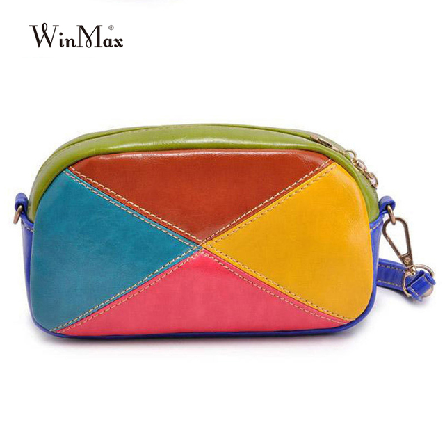 Ladies pu Leather crossbody bag mini patchwork long chain Shoulder Bags  Women Messenger Bag bolsa feminina 0d1db51a9b553
