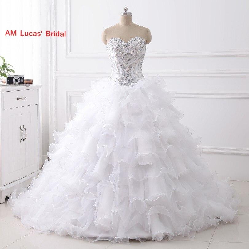 De luxe Longue robe de Bal Robes De Mariage À Gradins de Ruches Perles Perles Strass De Noce Robes De Mariée Conte De Fées Princesse