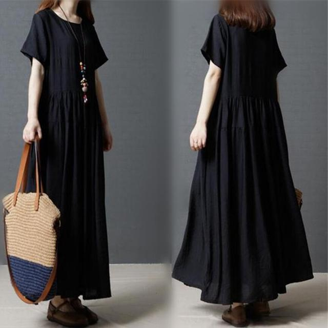 c633f49468 Women Summer short sleeve Cotton linen Dress Vestidos Casual Loose Large  Size Long Dress Women Vintage black dress M-XXL