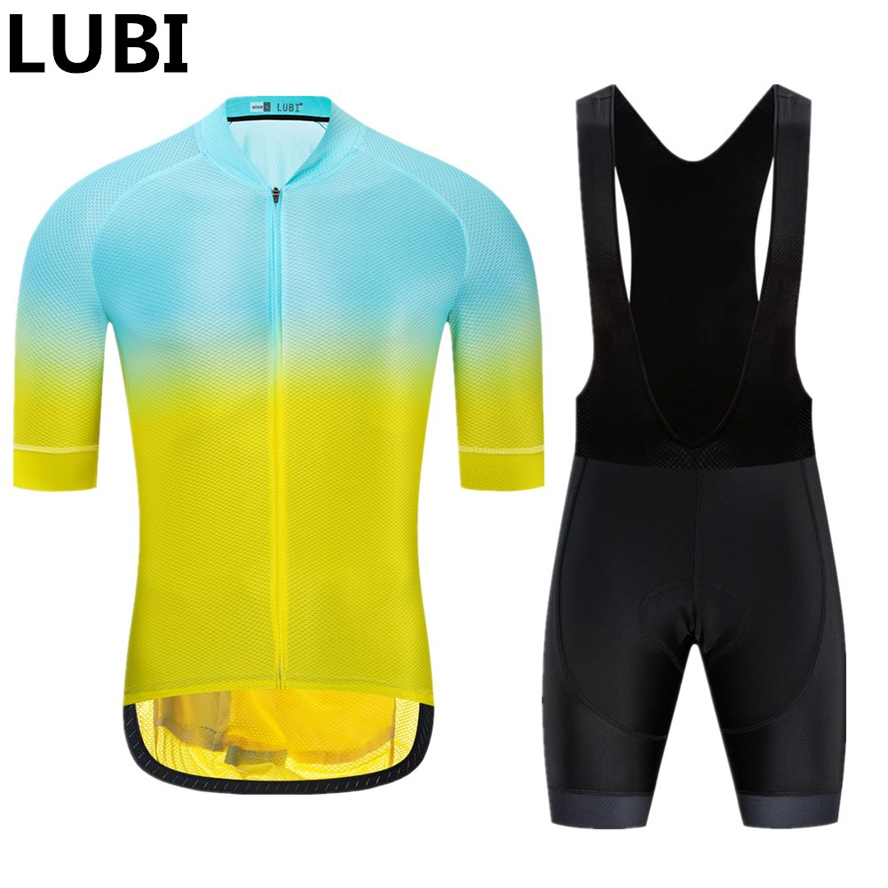 LUBI 2019 Team Men Summer Cycling Jersey Bib Short Set Wear High Density Sponge Pad MTB Clothes Kits Bike Clothing Road Suit