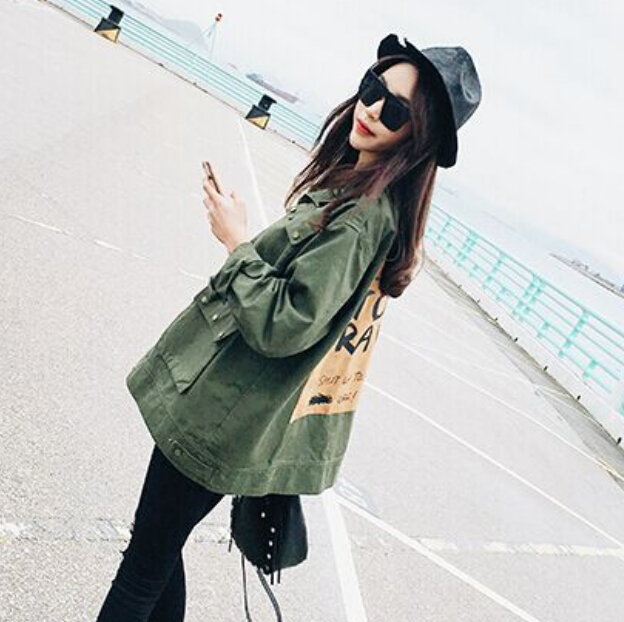 2017 new Women Sping Autumn Jacket High Street Letter Print Loose Casual Jacket fashion wild Army Green jacket G216