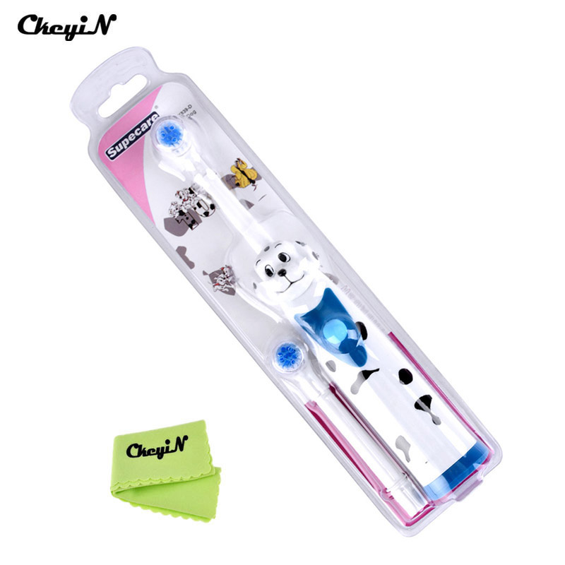 2 Heads Replaceable Electric Automatic Toothbrush for Children Cartoon Tooth Brush Baby Kid Dental Care Massage Whitening ultra soft children kids cartoon toothbrush dental health massage 1 replaceable head outdoor travel silicone retractable folding