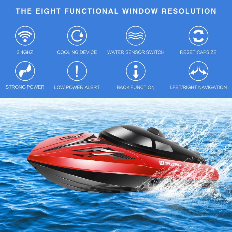Original SYMA Q1 RC Boat High Speed Ship 2.4GHz 30km/h with Capsize Reset Function Remote Control Fast Boat Toys for Boy Gift