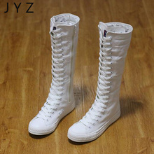 New Fashion Womens Over The Knee Length Boots Lace Up Shoes Canvas Flats Lady aa0521