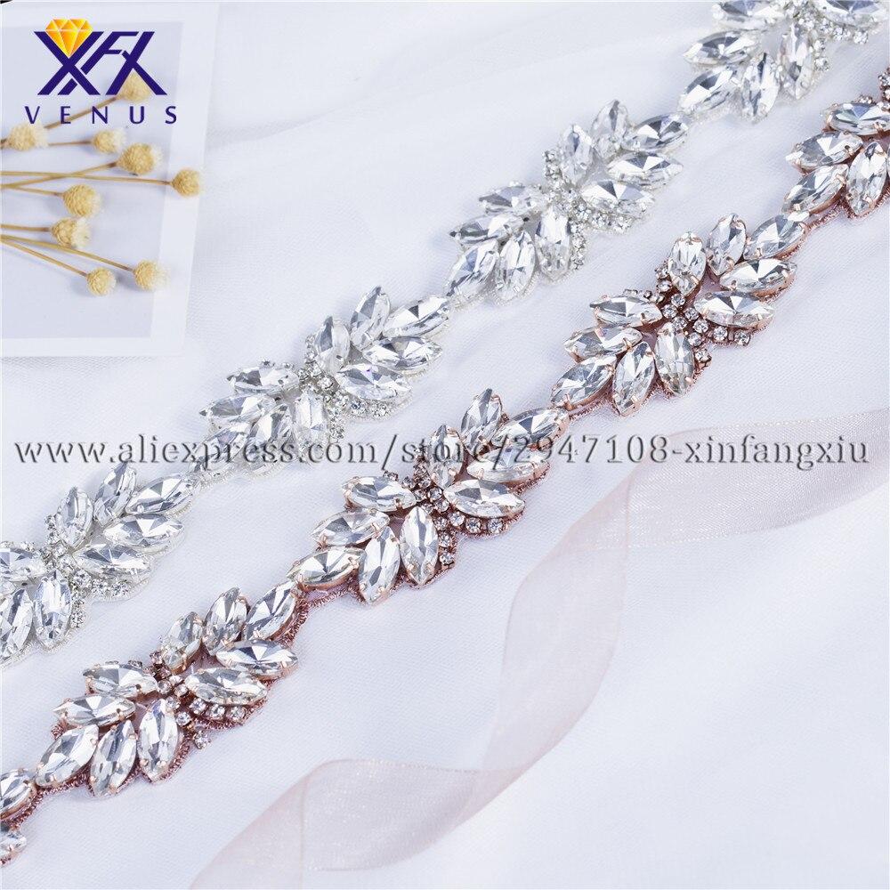 1yard Crystal Rhinestone Sew Iron on Trim Chain Applique for Wedding Dress DIY