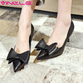 VINLLE 2017 Woman Pumps New Spring Black Pointed Toe Shoes PU High Heel Bow Tie Thin Heel Genuine Leather Women Shoes Size 34-39