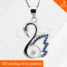 Nice jewelry Blue Swan charms 925 Sterling Silver necklace pendant accessories 3pcs, can stick pearls onto
