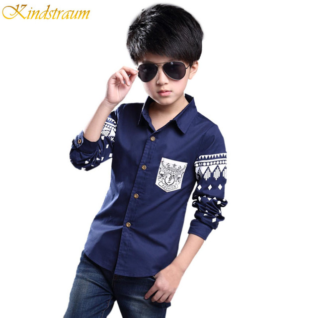 Kindstraum Boys Shirt 2016 NEW Spring Hot Selling Soft Fashion Children Clothing Print Navy style Long sleeve Formal, MC004
