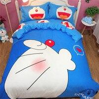 Fashion Cartoon cat 3d Home Bedding Set Doraemon Printed Kids Bedroom Cotton Bed Linen 4pcs Duvet Cover Bed Sheet Pillowcases