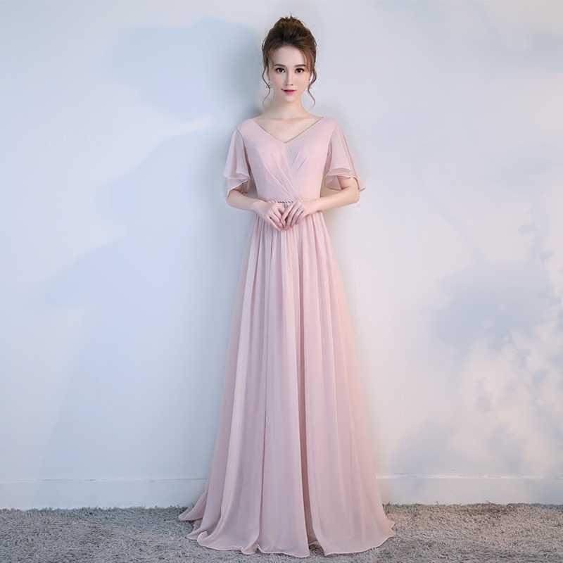 fb8b0dcd84 Long Pink Bridesmaid Dress New Pleat One Shoulder With Sashes Floor Length  Chiffon a-Line Vestido De Madrinha De Casamento Longo