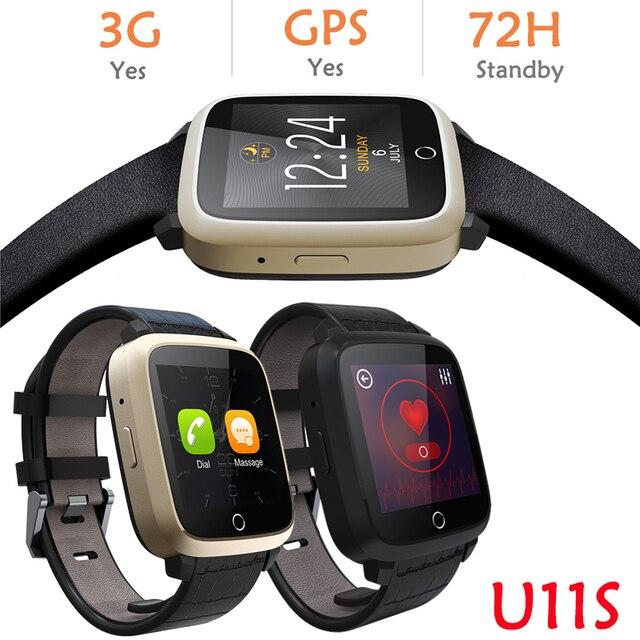 Оригинал U11S 3 Г WI-FI GPS Smart Watch Android 5.1 OS MTK6580 ПРОЦЕССОР 1.54 дюймов Экран Сердечного ритма smartwatch для iphone android телефон