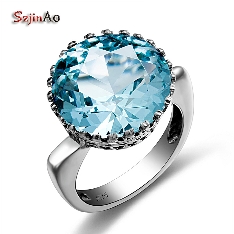 Szjinao Bud Shape Fashion Vintage Blue Crystal Romantic Big Rings for Women Wedding Engagement 925 silver Luxury Brand Jewelry