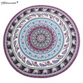 Yamala Specical Round Indian Elephant Towel Scarve Fashion Mandala Tapestry Beach Picnic Throw Rug Blanket Polyester Cotton