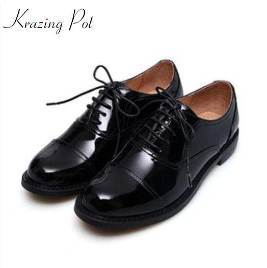 2018 Krazing Pot genuine leather fashion brand round toe low heels Oxford shoes solid preppy style women lace up lazy pumps L02 2017 shoes woman genuine leather flower round toe lace up preppy style med heels pumps for women young lady casual shoes l02
