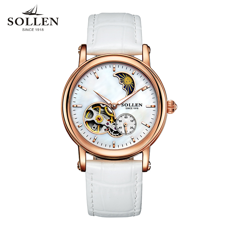00815e5a4320b Kobiet zegarka women Authentic watch Skeleton hollow fashion automatic  mechanical Clock Ladies Leather women Wristwatches