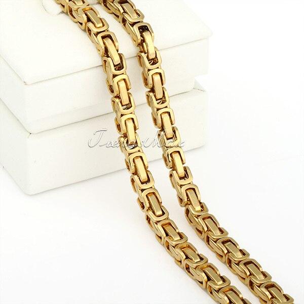 JEWELRY SET 5mm Boys Mens Chain Bracelet Gold Tone Byzantine Box Stainless Steel Necklace Bracelet Wholesale Jewelry KS48