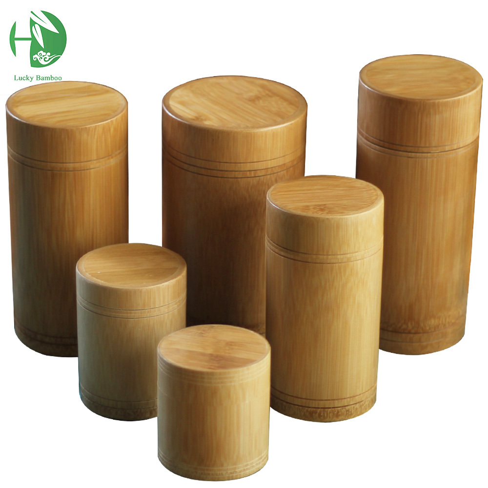 Bamboo Storage Bottles Jars Wooden Small Box Containers Handmade For Spices Tea Coffee Sugar Receive With Lid Vintage