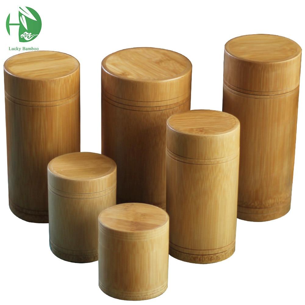 Frascos de almacenamiento de bambú Tarros Pequeños contenedores de madera de caja hechos a mano para especias Té Café Azúcar Recibido con tapa Vintage